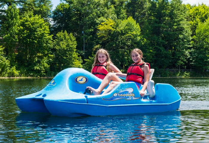 Girls on paddle boat