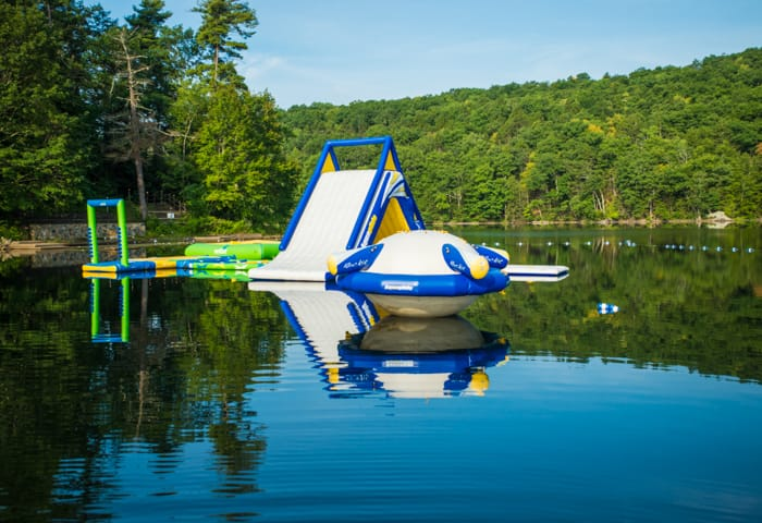 Waterslide and Wibit on lake